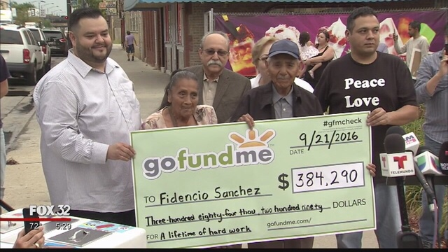 Finally able to stop pushing a cart and begin retirement, Sanchez receives his GoFundMe check
